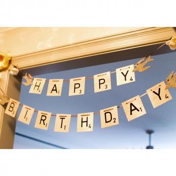birthday banner for the scrabble lover. | Visit my scrabble themed craft site: http://www.scrabble-tile-crafts.com/