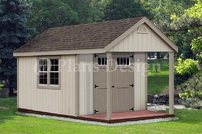 14 39 x 10 39 cabin loft backyard shed with porch plans for Shed with porch and loft