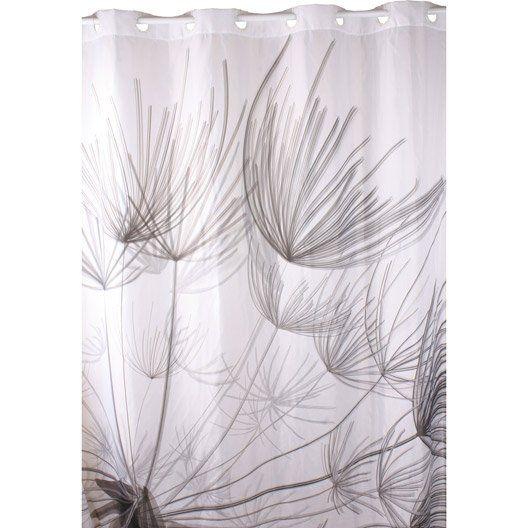 Rideau de douche en tissu Flora SENSEA, gris, 180 x 200 cm