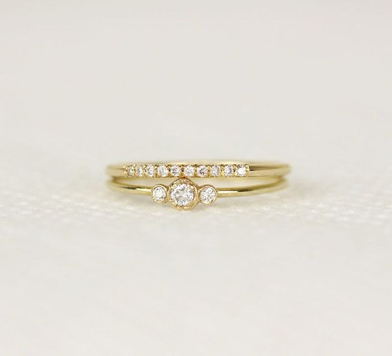 Simple Gold Diamond Ring Three Stone Ring In 14k by KHIMJEWELRY