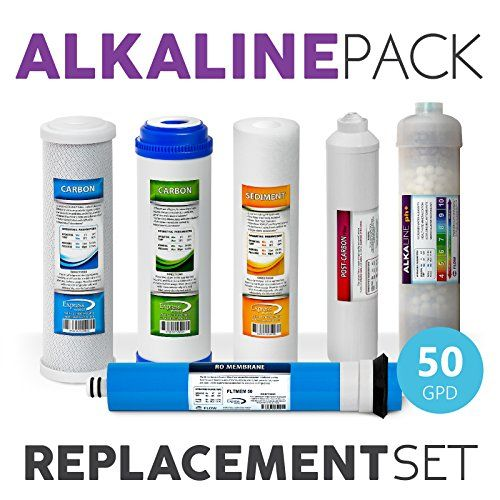 Express Water 1 Year Alkaline Reverse Osmosis System Replacement Filter Set 6 Filters With 50 Gpd Reverse Osmosis System Ro Membrane Safe Cleaning Products