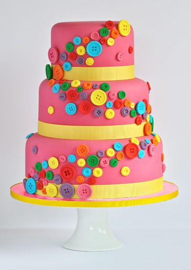 Swirls Bakery - colourful hot pink buttons cake, perfect for any bright occasion! #wedding #cake #shower