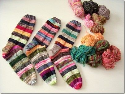 I call these my crazy leftover socks...I've made 8 pairs with my leftover yarn so far...absolutely love them!!! by shawna