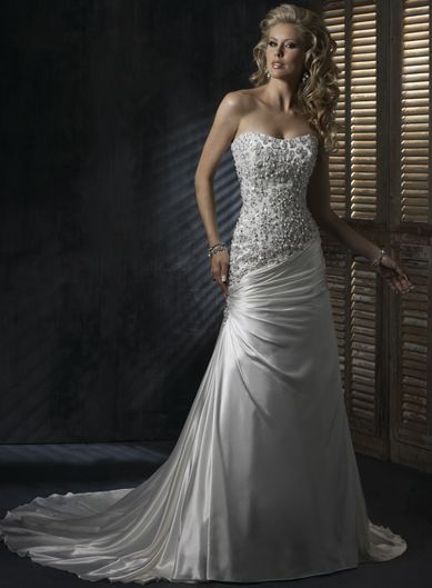Dropped waist Chapel Train Sleeveless Satin Perfect bridal gown