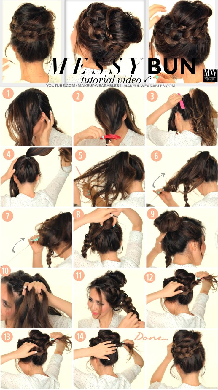 Second-Day #Hairstyles | Messy Bun #Updo w/ #Braids