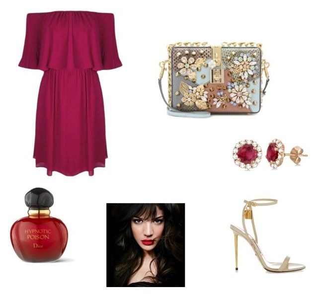 """""""wine red"""" by stellast on Polyvore featuring Alice + Olivia, Tom Ford, Dolce&Gabbana, Allurez, IVI and Christian Dior"""