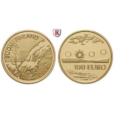 Finnland, Republik, 100 Euro 2002, 7,78 g fein, PP: 100 Euro 7,78 g fein, 2002. Mitternachtssonne. GOLD, Polierte Platte, gekapselt… #coins