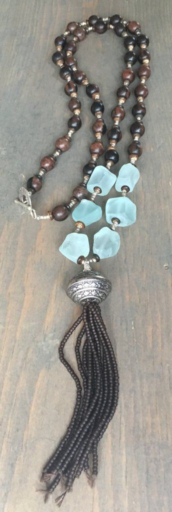Beaded Necklace with toggle clasp, natural brown wood beads, recycled sea glass beads and beaded tassel