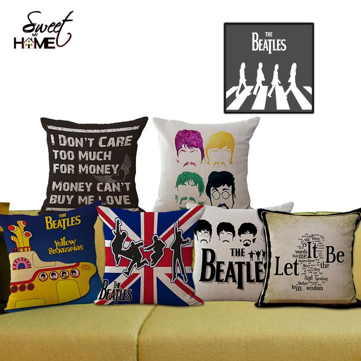 "Square 18"" Cotton Linen The Beatles Cartoon Style Decorative Sofa Throw Cushion Chair Seat Cushion For Retail"