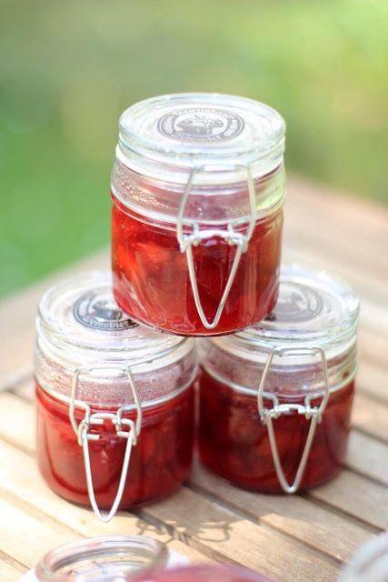 Erdbeer-Pfirsich Marmelade bei sommerlichen 38°C, Rezept Erdbeer-Pfirsich-Marmelade, Rezept Plattpfirsiche,