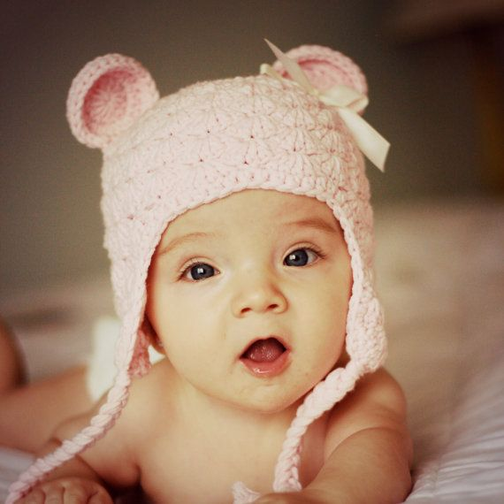 Shabby Chic Hat, Baby Girl Winter Hat, Newborn Photo Prop, Girl Bear Hat - Light Pink with bow on Etsy, $30.00