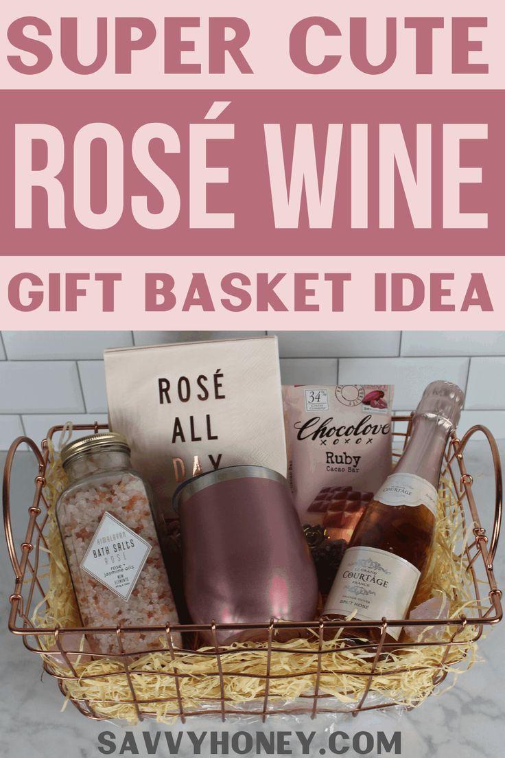 Cute Diy Rose Wine Gift Basket Idea For Women Wine Gift Baskets Valentine Gift Baskets Gifts For Wine Lovers
