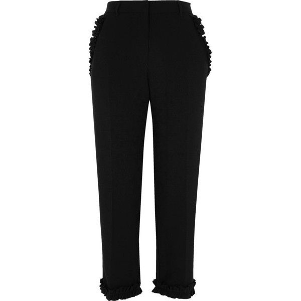 River Island Black frill hem cropped straight leg pants ($76) ❤ liked on Polyvore featuring pants, capris, black, cropped pants, women, pocket pants, tall pants, zipper pocket pants and zip pocket pants