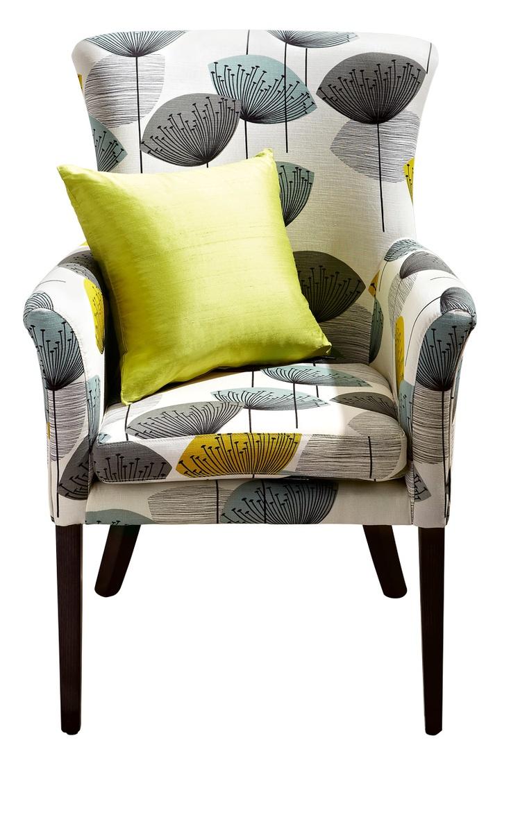 Design Furniture 'Axis' wing chair in retro Sanderson Dandelions Clocks print