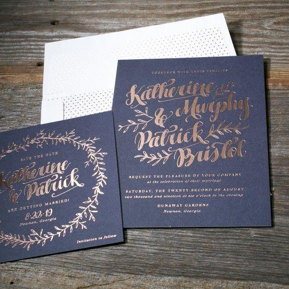 Meryl foil stamped wedding invitation from Bella Figura. Customize yours with Paper Passionista.