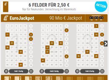 Eurojackpot: Chance auf 90 Millionen Euro am Freitag / 6 Felder für 2,50 Euro https://www.discountfan.de/artikel/technik_und_haushalt/eurojackpot-chance-auf-90-millionen-euro-am-freitag-6-felder-fuer-2-50-euro.php Die Chance auf den Gewinn ist höher als beim klassischen deutschen Lotto 6aus49, der Jackpot obendrein um einiges höher: Beim Euro-Jackpot sind am Freitag 90 Millionen Euro zu gewinnen – Discountfans können sechs Felder für nur 2,50 Euro spielen. Die Re