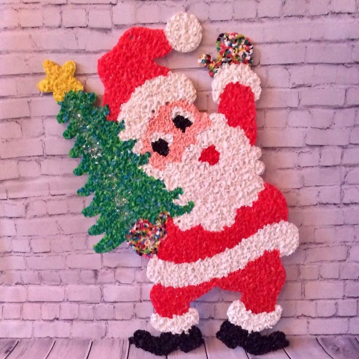 "Vintage Christmas Melted Plastic Popcorn Decoration Christmas Santa 24"" USA  