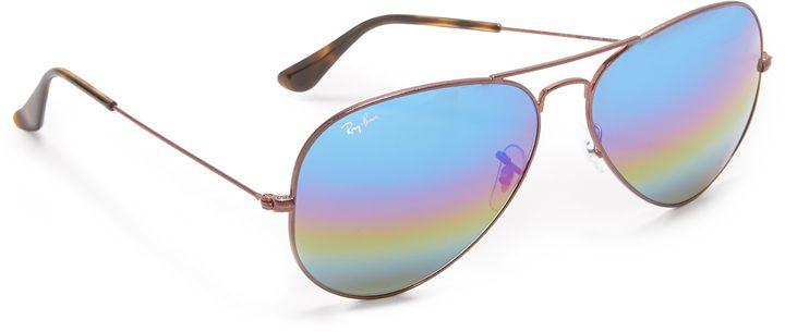 Ray-Ban Rainbow Mirrored Aviator Sunglasses