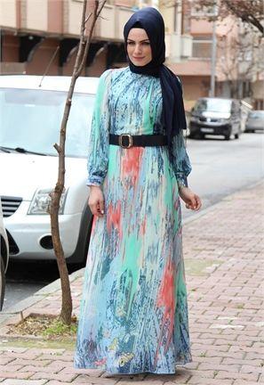 Manşet Kelebek Desenli Şifon Elbise-Mavi-9987
