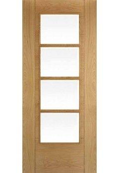 Internal Door Semi Solid Oak Iseo Central 4 Light Clear Bevelled Glass Pre…