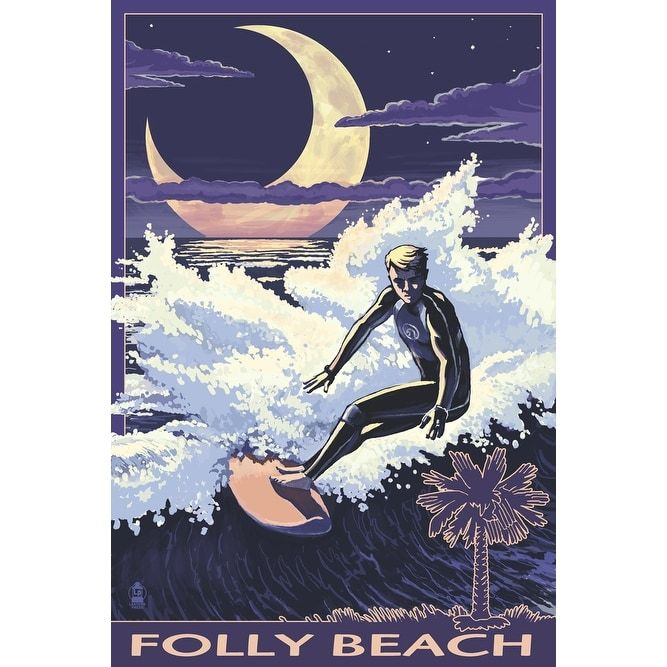Folly Beach, SC Surfer Palmetto Moon - LP Artwork (Acrylic Wall Clock), Black (Plastic)