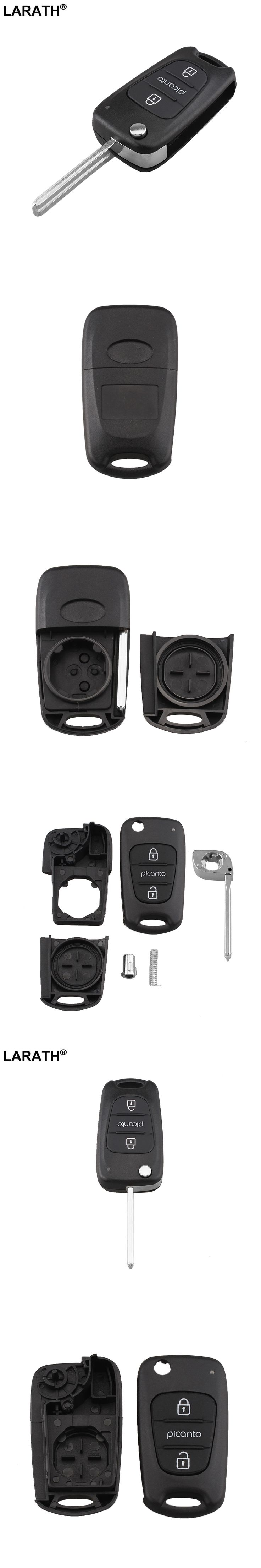 LARATH Flip Folding 3 Buttons Remote Key Shell FOB Case Cover Replacement For KIA Picanto Car Key Uncut Blade