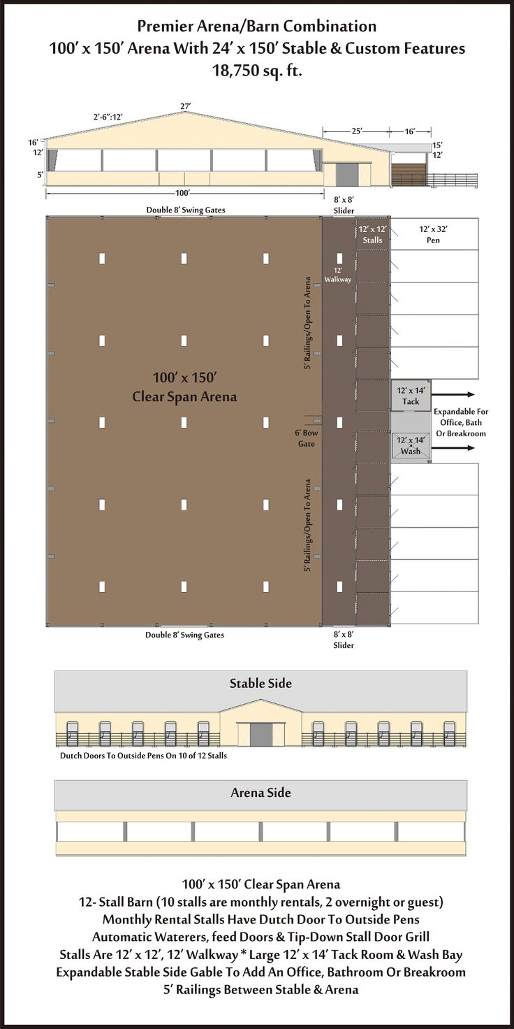Arena Barn Combos 100 x 150 By Ranch and Golf Construction