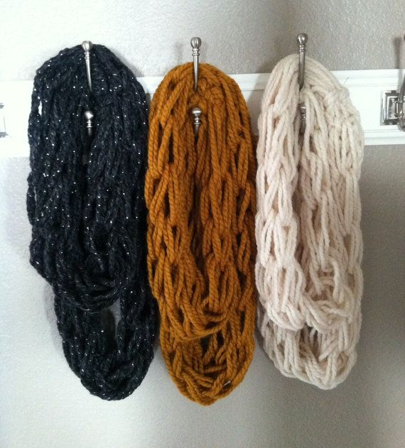 Arm Knitting Infinity Scarf : Arm knitted infinity scarf only crochet