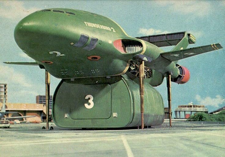 Thunderbird 2 lowers cargo pod.