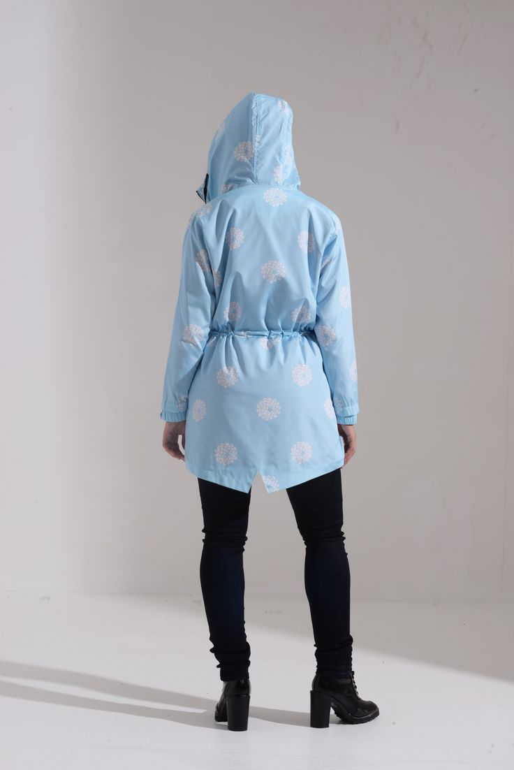 Dusty Blue Floral Prints Water Resistant Festival Parka SKU: 03S17DUSTYBLUE-PARKA Price: £24.99
