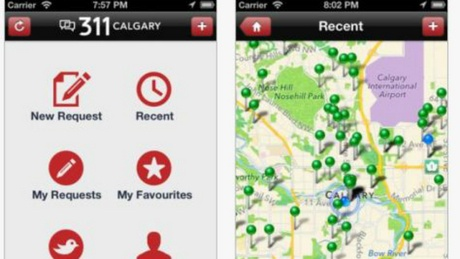Screenshots from the Calgary 311 app to report potholes, other complaints to city