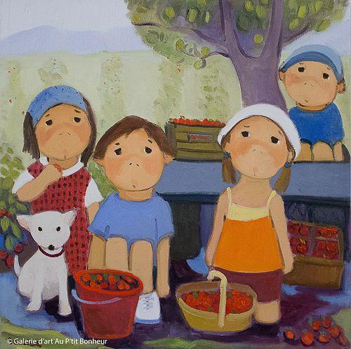 Guylène Saucier, 'De belles fraises mûres', 24'' x 24'' | Galerie d'art - Au P'tit Bonheur - Art Gallery