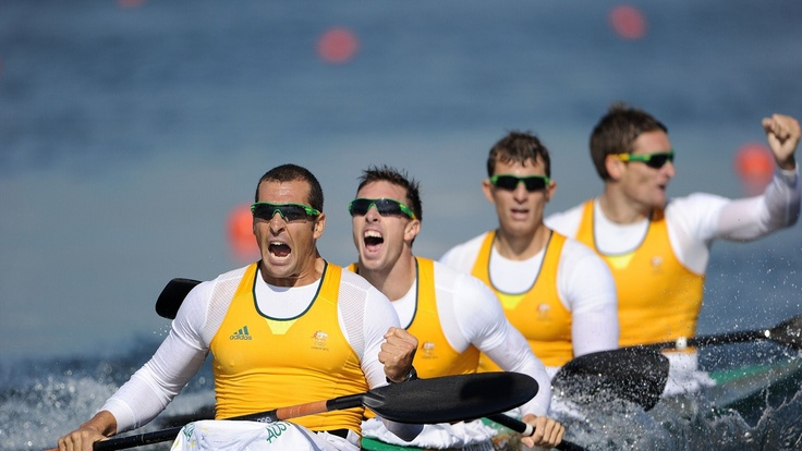 Day 13 - Tate Smith, Dave Smith, Murray Stewart, and Jacob Clear of Australia celebrate winning the Gold medal in the Men's Kayak Four (K4) 1000m Canoe Sprint. This was the sixth gold medal won by Australia at the 2012 London Olympic Games - Men's Kayak Four (K4) 1000m Photos - Olympic Canoe sprint | London 2012 Olympics