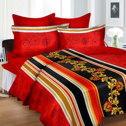 Cortina King Size Fitted Bed Sheet Set Red And Black,King Size Bed Sheets