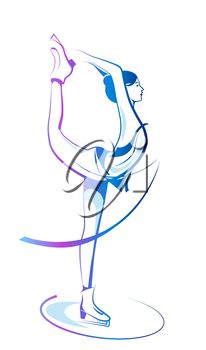 iCLIPART - Clip Art Illustration of a Lady Figure Skating