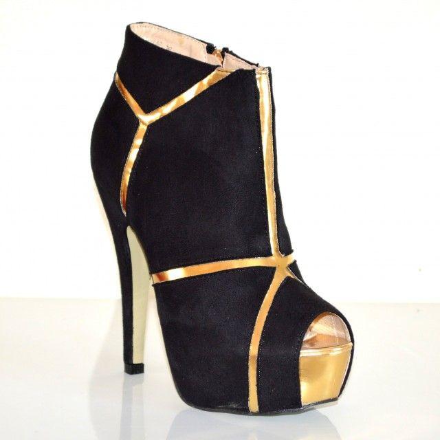 STIVALI TRONCHETTI donna scarpe spuntate nere decoltè stivaletti tacco alto sexy plateau oro pelle scamosciata cerimonia da sera 19A imágenes
