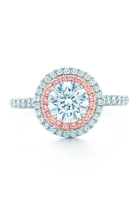 """Tiffany Soleste"" round brilliant white diamond encircled by a row of pink and white bead-set diamonds, starting at $21,800, Tiffany & Co."
