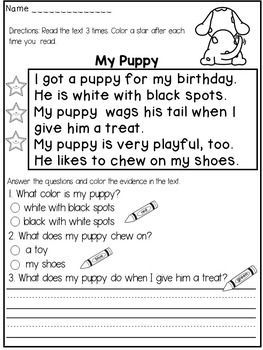 """First Grade Reading Comprehension Passages ( FICTION) :This reading comprehension product contains 20 FICTIONAL passages that target both reading FLUENCY and COMPREHENSION.The students will have to:* read the text 3 times and color a star after each reading (for fluency)* answer at least 2 multiple choice questions and color the evidence in the text ( I usually help my students by asking : """" Can you find the words in the text that answer this question?"""
