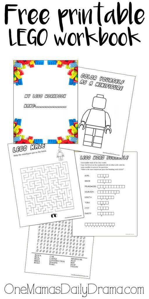 Free printable LEGO workbook | 4 pages of puzzles for LEGO loving kids! Coloring page, maze, word search, and word scramble. Plus this blog has a TON more LEGO printables!