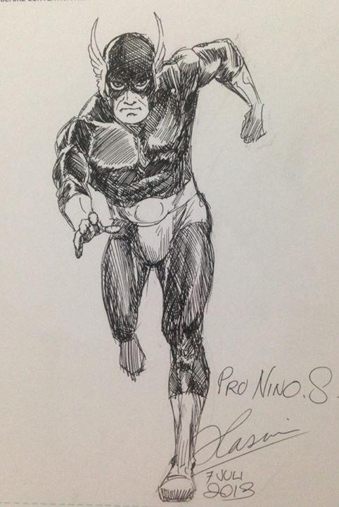 Gundala inked sketch by Pak Hasmi, Gundala's creator. Gundala is one of the Indonesian superheroes.
