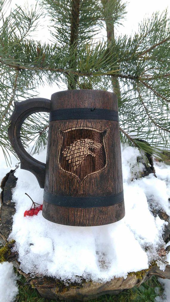 House Stark Mug 0.6L (20,3 us fl oz) Winter is Coming Game of Thrones Gift GoT Game of Thrones inspired gift Beer tankard Groomsmen Gift