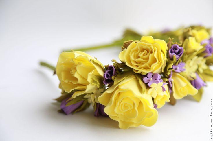 Купить ободок для волос - желтый, ободок для волос, ободок с цветами, яркий аксессуар, для девочки, для фотосессии