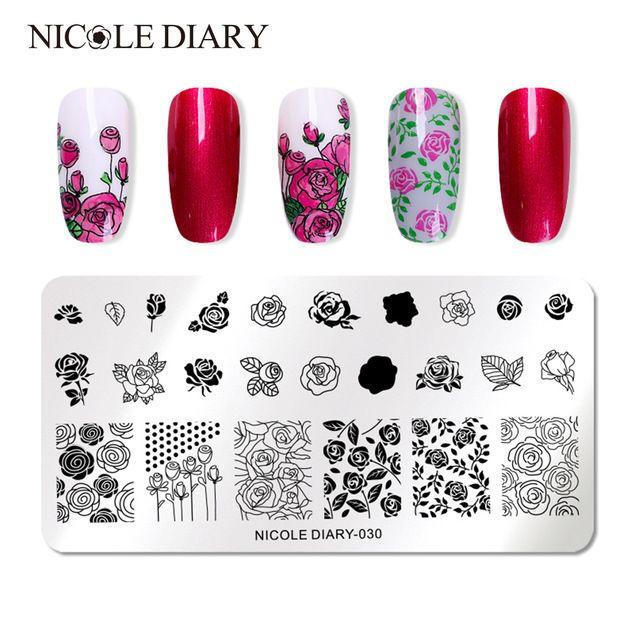 <b>NICOLE DIARY Nail Art</b> Stamp Template Flower Rose Animal Image ...