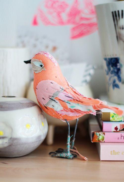 Sweet textile birdie soft sculpture by Abigail Brown