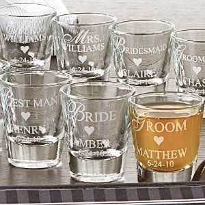 Share a drink with the wedding party on your big day and on special occasions in the future. Shot glass holds 1.5 oz. Hand wash. Choose from 7 titles: Bride, Groom, Bridesmaid, Groomsman, Maid of Honor, Matron of Honor or Best Man. We personalize with any name, up to 10 characters and a date.