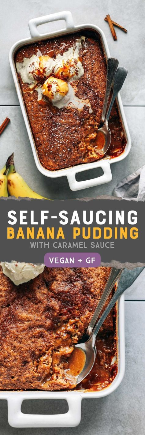 Self-Saucing Banana Pudding Cake (Vegan + GF)