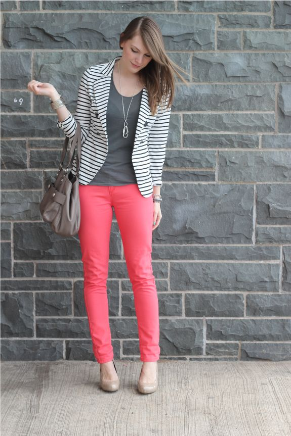 so much to love...striped blazer, pink pants...the whole outfit just rocks.