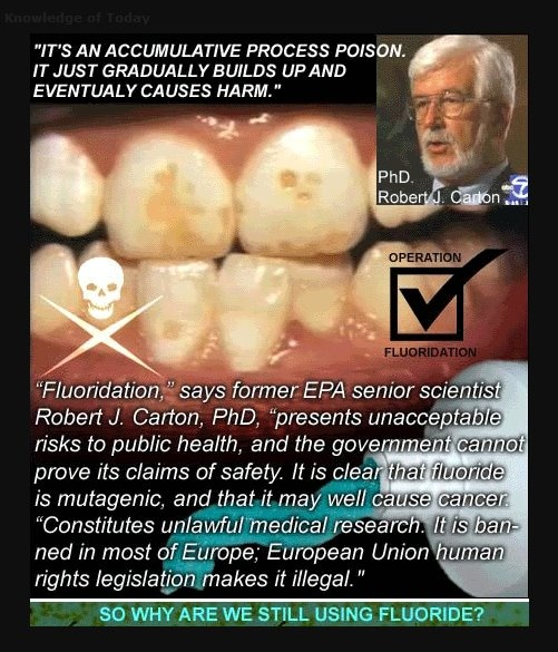 Fluoridation - slow death, gotta start going natural with a lot of cleaners - starting with baking soda.