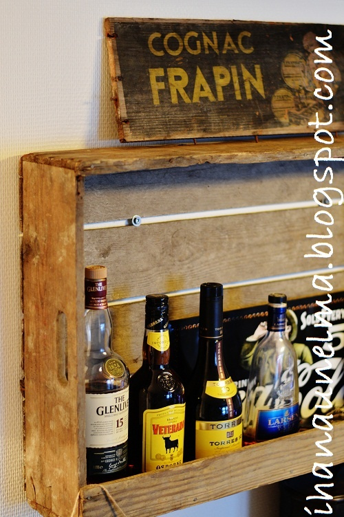 Old wooden crate as a shelf.
