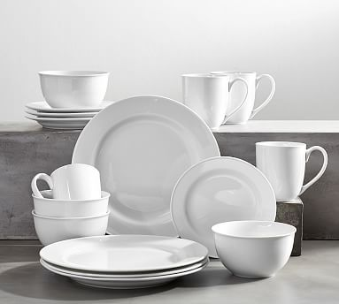 Great White Traditional Dinnerware 16 Piece Set With Cereal (Dinner, Salad, Cereal, Mug)